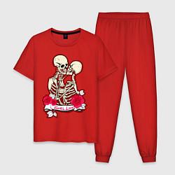 Пижама хлопковая мужская Вечная любовь цвета красный — фото 1