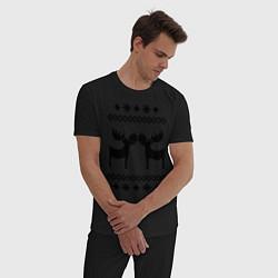 Пижама хлопковая мужская Узор с оленями цвета черный — фото 2