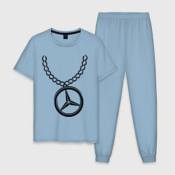 Пижама хлопковая мужская Мерседес медальон цвета мягкое небо — фото 1
