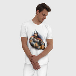Пижама хлопковая мужская Путин богатырь цвета белый — фото 2