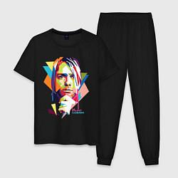 Пижама хлопковая мужская Kurt Cobain: Colors цвета черный — фото 1