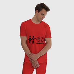 Пижама хлопковая мужская I love subaru цвета красный — фото 2