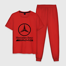 Пижама хлопковая мужская AMG цвета красный — фото 1