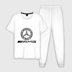 Пижама хлопковая мужская AMG цвета белый — фото 1