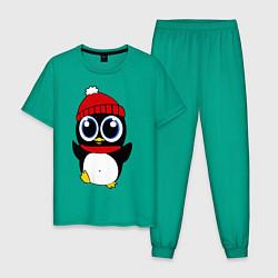Пижама хлопковая мужская Удивленный пингвинчик цвета зеленый — фото 1