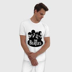 Пижама хлопковая мужская The Beatles Band цвета белый — фото 2