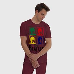 Пижама хлопковая мужская The Beatles: Colors цвета меланж-бордовый — фото 2