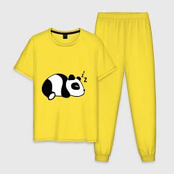 Пижама хлопковая мужская Панда спит цвета желтый — фото 1