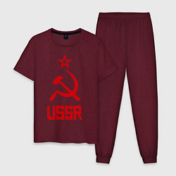 Пижама хлопковая мужская СССР - великая держава цвета меланж-бордовый — фото 1