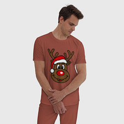 Пижама хлопковая мужская Рождественский олень цвета кирпичный — фото 2