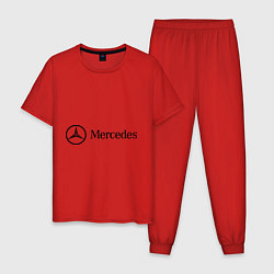 Пижама хлопковая мужская Mercedes Logo цвета красный — фото 1