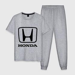 Пижама хлопковая мужская Honda logo цвета меланж — фото 1