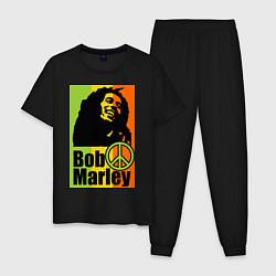 Пижама хлопковая мужская Bob Marley: Jamaica цвета черный — фото 1