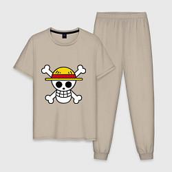 Пижама хлопковая мужская Флаг Луффи цвета миндальный — фото 1