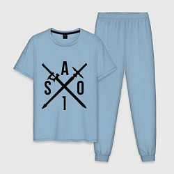 Пижама хлопковая мужская Мечи Сворд Арт цвета мягкое небо — фото 1