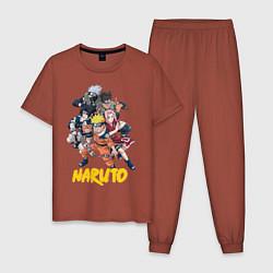 Пижама хлопковая мужская Наруто команда цвета кирпичный — фото 1