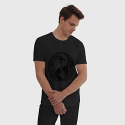 Пижама хлопковая мужская Два дракона Инь Янь цвета черный — фото 2