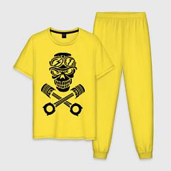 Пижама хлопковая мужская Череп мотоциклиста цвета желтый — фото 1