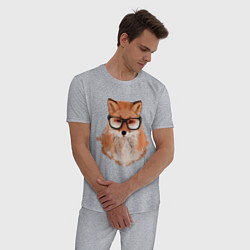 Пижама хлопковая мужская Умная лиса цвета меланж — фото 2