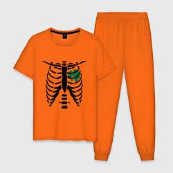 Пижама хлопковая мужская Скелет и клевер цвета оранжевый — фото 1