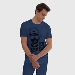 Пижама хлопковая мужская Go hard vladimir putin цвета тёмно-синий — фото 2