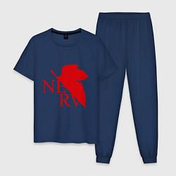 Пижама хлопковая мужская Евангелион NERV цвета тёмно-синий — фото 1