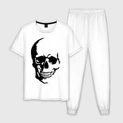 Пижама хлопковая мужская Череп с тенью цвета белый — фото 1