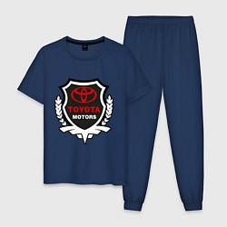 Пижама хлопковая мужская Тойота моторс герб цвета тёмно-синий — фото 1