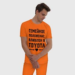 Пижама хлопковая мужская Влюблен в Тойота цвета оранжевый — фото 2