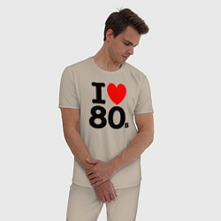 Пижама хлопковая мужская I Love 80s цвета миндальный — фото 2