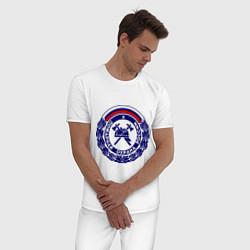 Пижама хлопковая мужская Пожарная охрана России цвета белый — фото 2