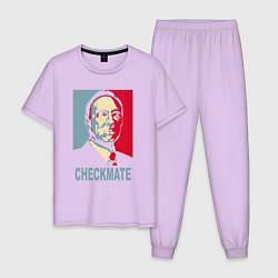 Пижама хлопковая мужская Checkmate Spacey цвета лаванда — фото 1