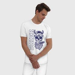 Пижама хлопковая мужская Biker цвета белый — фото 2