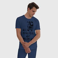 Пижама хлопковая мужская Monsters цвета тёмно-синий — фото 2