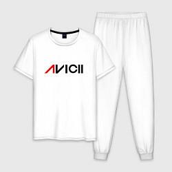Пижама хлопковая мужская Avicii цвета белый — фото 1