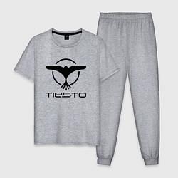 Пижама хлопковая мужская Tiesto цвета меланж — фото 1