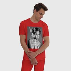 Пижама хлопковая мужская Rihanna: Where have you been цвета красный — фото 2