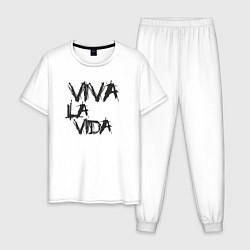 Пижама хлопковая мужская Viva La Vida цвета белый — фото 1
