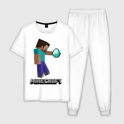 Пижама хлопковая мужская Minecraft Rock цвета белый — фото 1