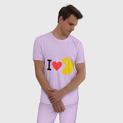 Пижама хлопковая мужская I love Packman цвета лаванда — фото 2