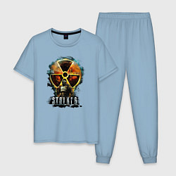 Пижама хлопковая мужская STALKER: Soldier цвета мягкое небо — фото 1