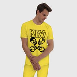 Пижама хлопковая мужская Kiss Skulls цвета желтый — фото 2