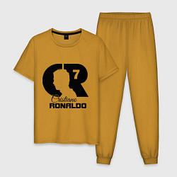 Пижама хлопковая мужская CR Ronaldo 07 цвета горчичный — фото 1