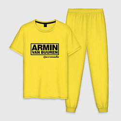 Пижама хлопковая мужская Armin van Buuren цвета желтый — фото 1