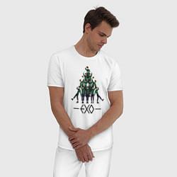 Пижама хлопковая мужская EXO Band цвета белый — фото 2