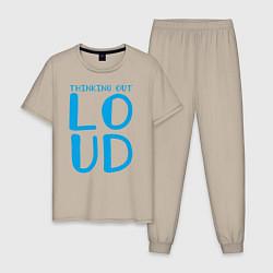 Пижама хлопковая мужская Thinking Out: Loud цвета миндальный — фото 1