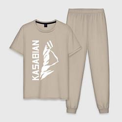 Пижама хлопковая мужская Kasabian цвета миндальный — фото 1