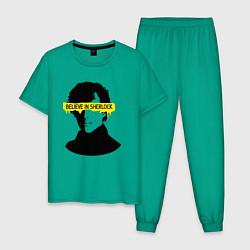 Пижама хлопковая мужская Believe in Sherlock цвета зеленый — фото 1