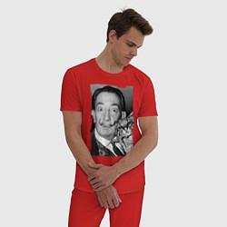 Пижама хлопковая мужская Дали с кошкой цвета красный — фото 2