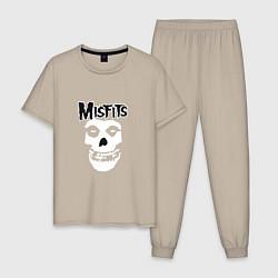 Пижама хлопковая мужская Отбросы цвета миндальный — фото 1